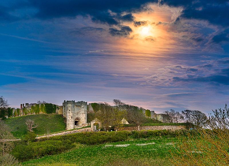1831 Moonrise Carisbrooke Castle - Cowes, Newport and Carisbrooke landscapes