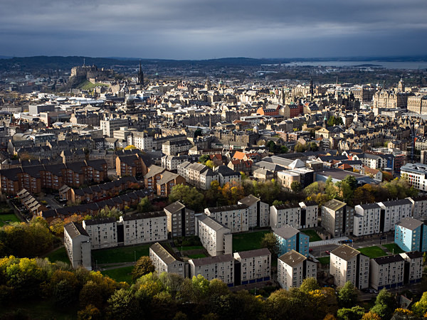 View of Edinburgh from Salisbury Crags, photographed by Roger Butterfield.