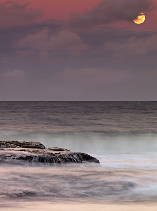 Moonrise at sunset - Seascapes