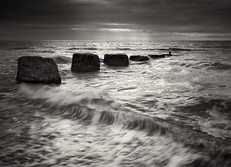 Black and white Photo of Sea Blocks