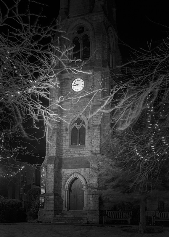 Clock Face on Christchurch Ilkley - Otley and Ilkley at Night