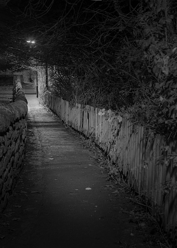 Path leading from Birdcage Walk, Otley - Otley and Ilkley at Night