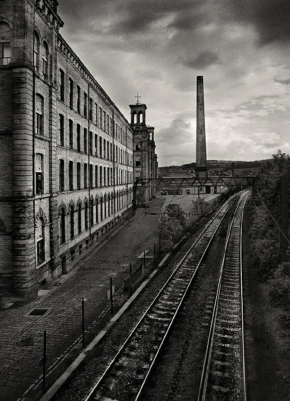 Salts Mill Railway in black and white