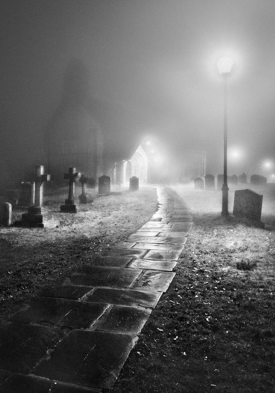 Adel Church in Mist - Night Exposures