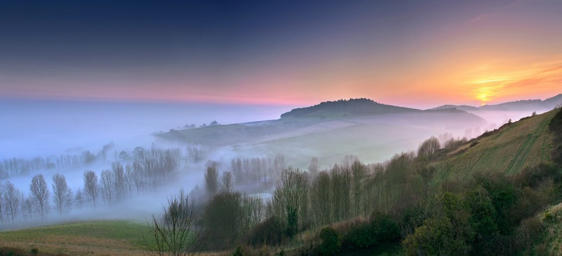 z2373 Evening Mist, Brighstone Down - Blackgang to Compton inc West Wight