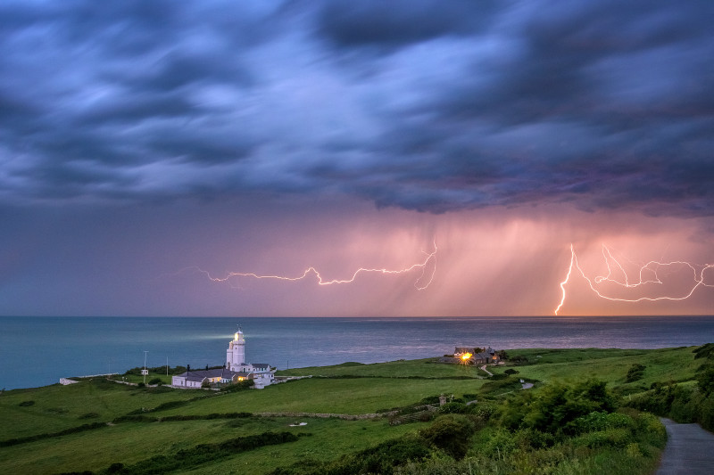 z3064 Dawn Lightning, St Catherine's Lighthouse - Latest Photos