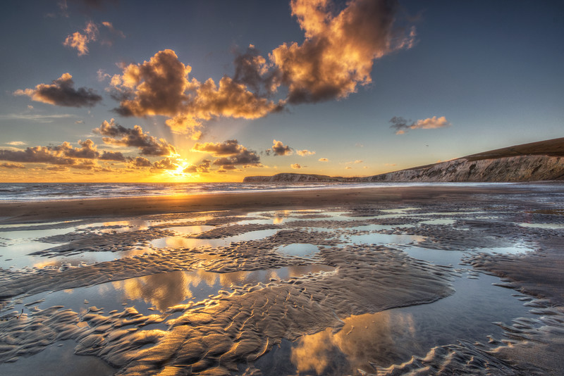 z2530 Autumn Sunset, Compton Bay - Blackgang to Compton inc West Wight