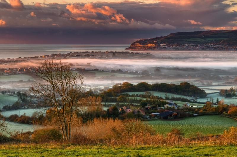 z1918 Morning Mist over Sandown Bay2 - Sandown, Shanklin, Luccombe and Wroxall