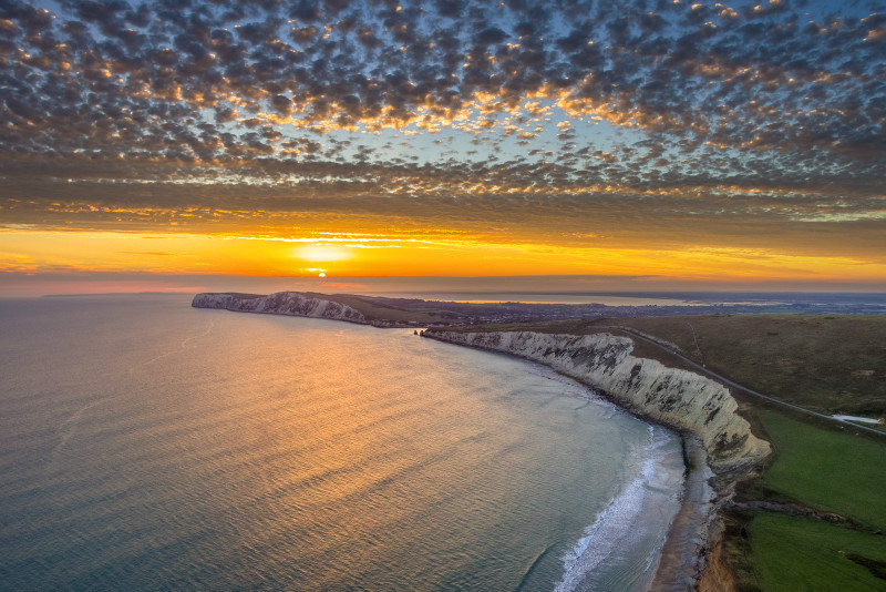 z2956 View from above Compton Bay at Sunset - Blackgang to Compton inc West Wight