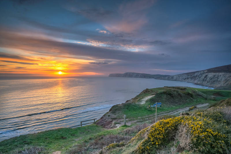 z3013 Winter Sunset, Compton bay - Blackgang to Compton inc West Wight