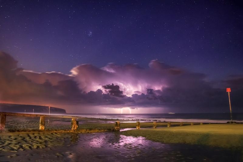 z2557 Storm Reflections, Sandown Beach - The Lightning Gallery