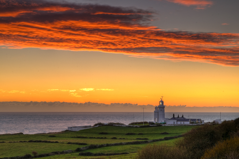 z1933 St Catherines Lighthouse at Sunset - Ventnor to St Catherine's inc Bonchurch & Whitwell