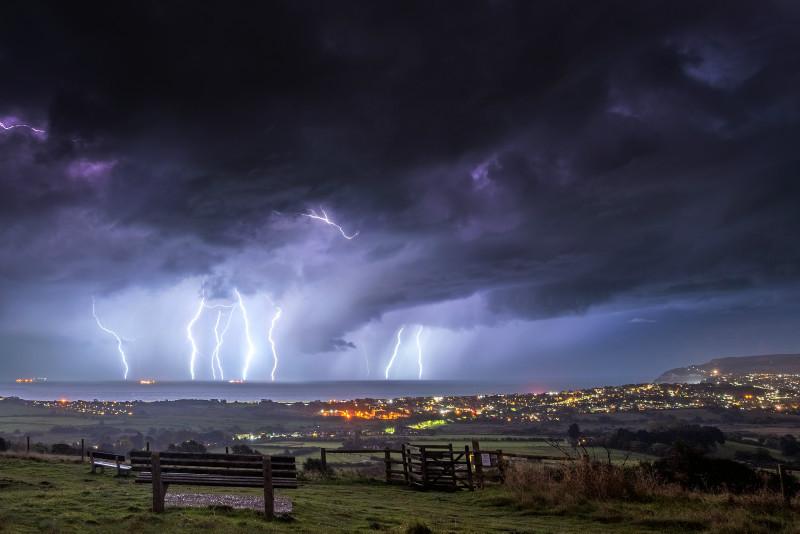 z2968 Evening Storm over Sandown Bay - The Lightning Gallery