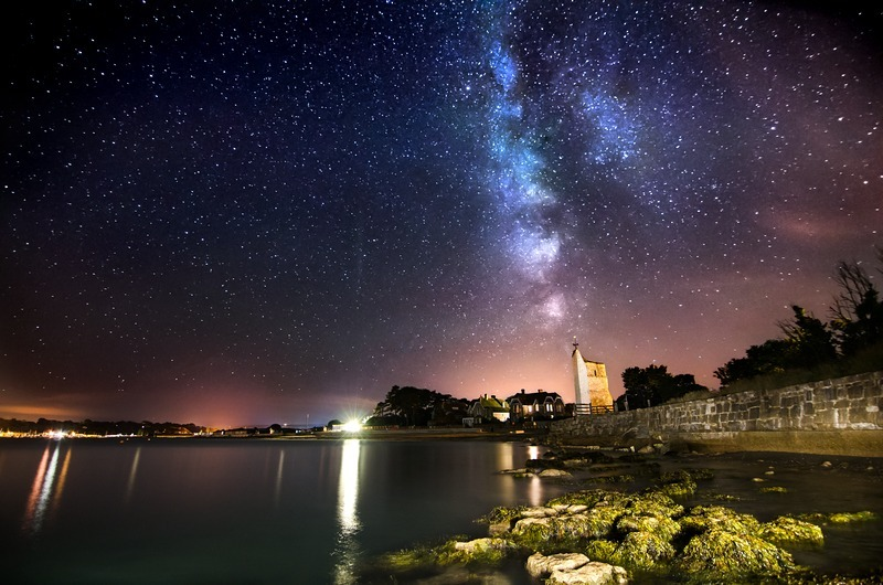 z2244 Milky Way over St Helens Old Church - Seaview to Bembridge, Whitecliff Bay and Brading