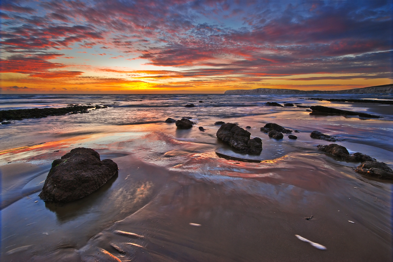 z1323 Sunset, Compton Bay - Blackgang to Compton inc West Wight