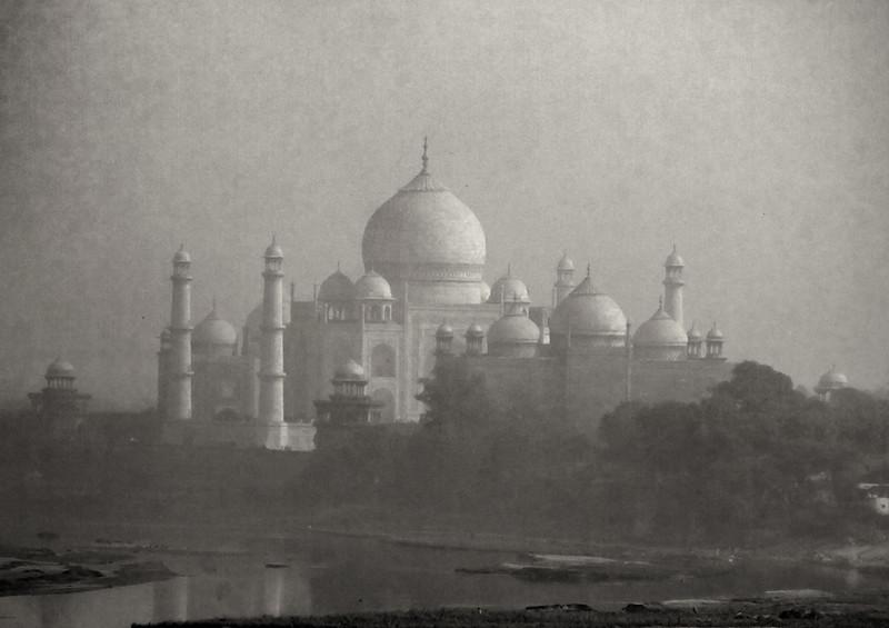 Taj Mahal through fog, Agra, India