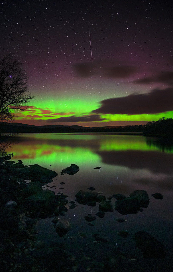 Highland aurora and meteor, Loch Kinord - Aurora borealis in Scotland