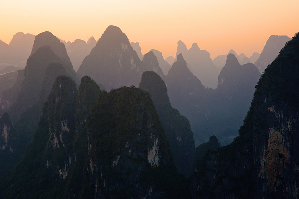 Karst sunset - China, Guangxi Province