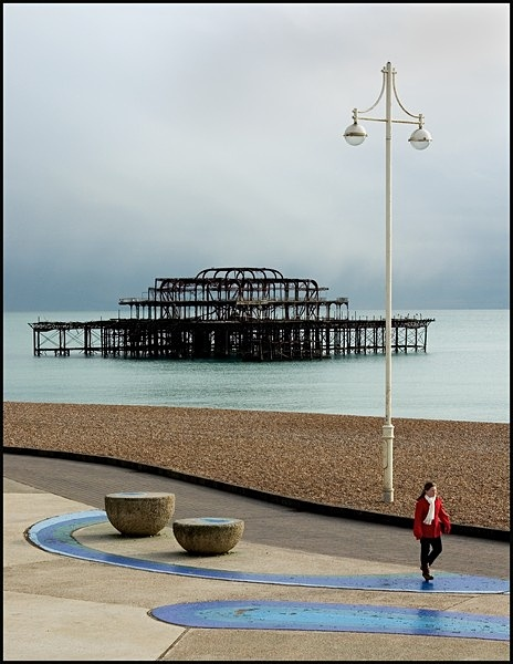 West Pier and Girl in Red - Picture Gallery