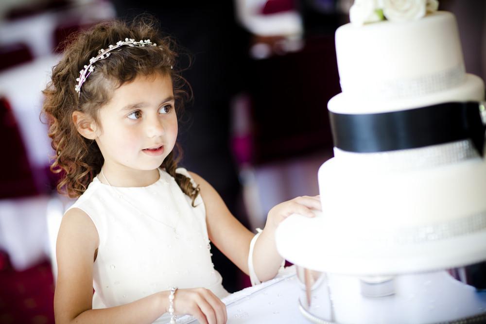 Flower Girl and Wedding Cake at Margam Orangery - Wedding Photography at Margam Orangery