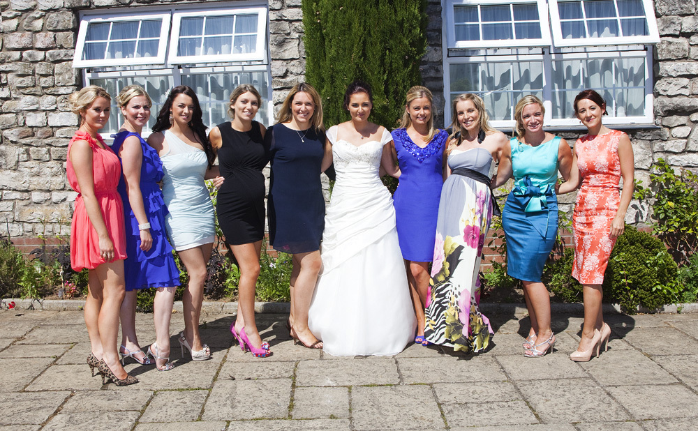 Bride and girl friends at Bear Hotel, Cowbridge - Wedding Photography at The Bear Hotel, Cowbridge