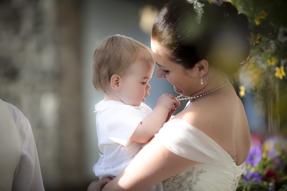 Bride and son at Bear Hotel, Cowbridge - Wedding Photography at The Bear Hotel, Cowbridge