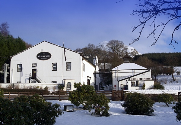 Glengoyne Distillery with Dumgoyne behind, 10 January 2010 - Whisky