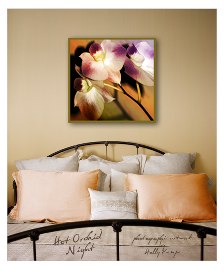 Hot Orchid Night - Artwork Displayed in a Room