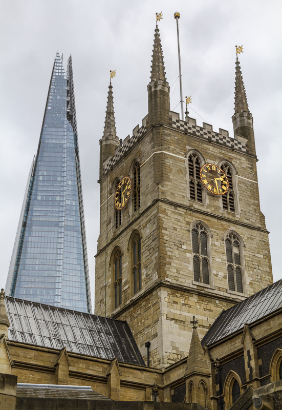 Shard over Southwark Cathedral - London