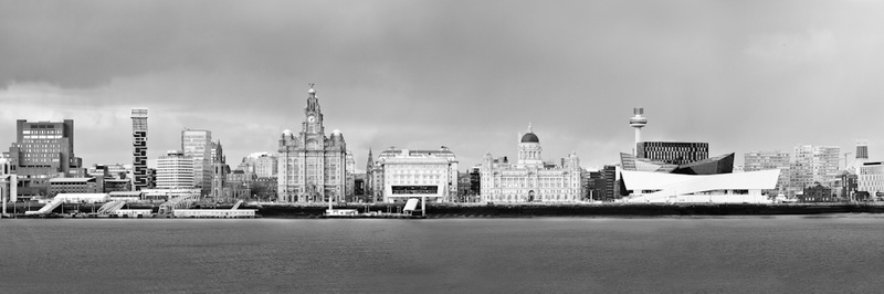 LIVERPOOL PIER HEAD FROM WIRRAL PANORAMA B&W - Black & White