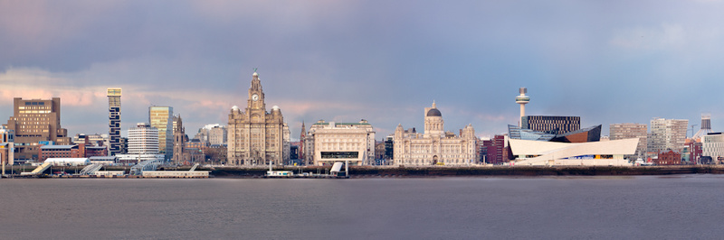 LIVERPOOL PIER HEAD FROM WIRRAL PANORAMA - Colour