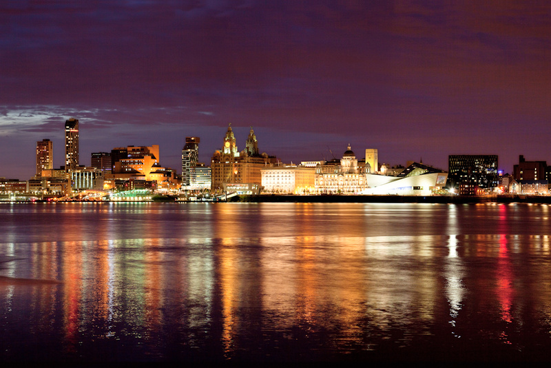 LIVERPOOL SKYLINE REFLECTIONS FROM WOODSIDE - Colour