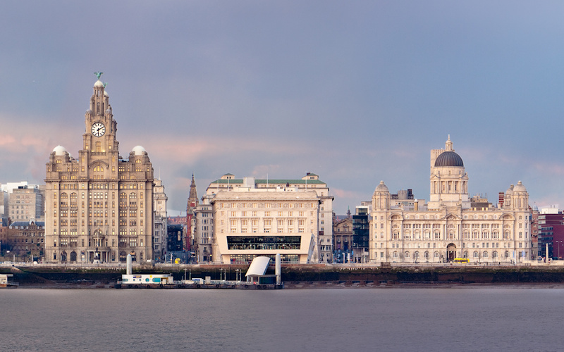 LIVERPOOL PIER HEAD FROM WIRRAL - Colour