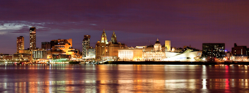 LIVERPOOL SKYLINE REFLECTIONS FROM WOODSIDE PANORAMA - Colour