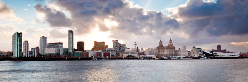 LIVERPOOL SKYLINE AT SUNRISE FROM SEACOMBE - Colour