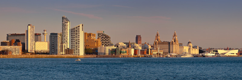 LIVERPOOL SKYLINE AT SUNSET FROM EGREMONT - Colour