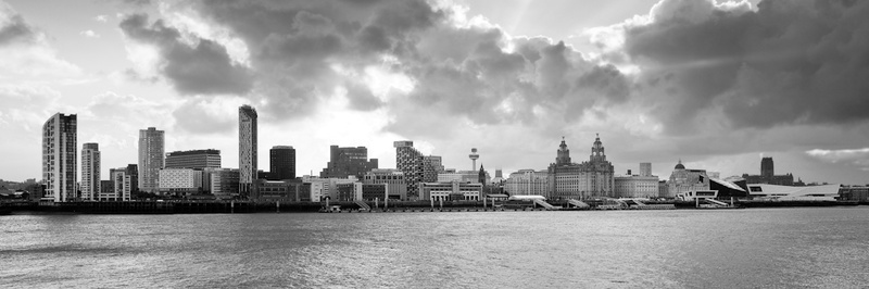 LIVERPOOL SKYLINE AT SUNRISE FROM SEACOMBE BLACK AND WHITE - Black & White