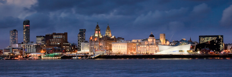 LIVERPOOL SKYLINE AT NIGHT FROM WOODSIDE - Colour
