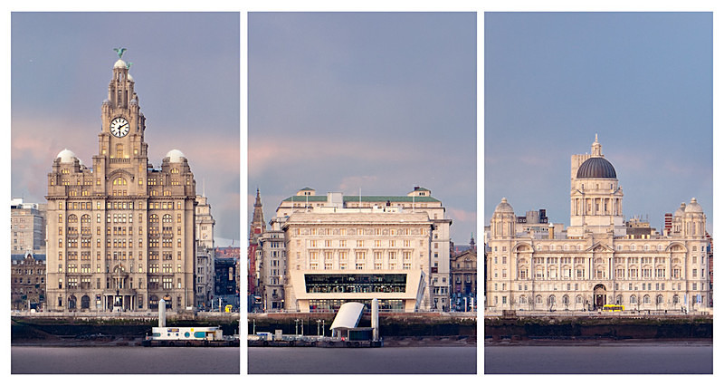 LIVERPOOL PIER HEAD FROM WIRRAL TRIPTYCH - Colour