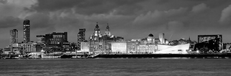 LIVERPOOL SKYLINE AT NIGHT FROM WOODSIDE B&W - Black & White