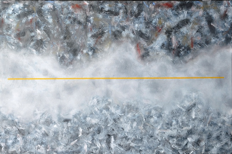 Suspended Yellow Oil on cotton Duck 72in x 48in - Abstract