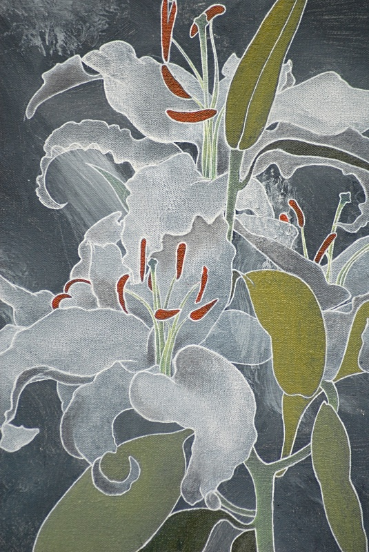Lily on Grey Detail - Flower Paintings