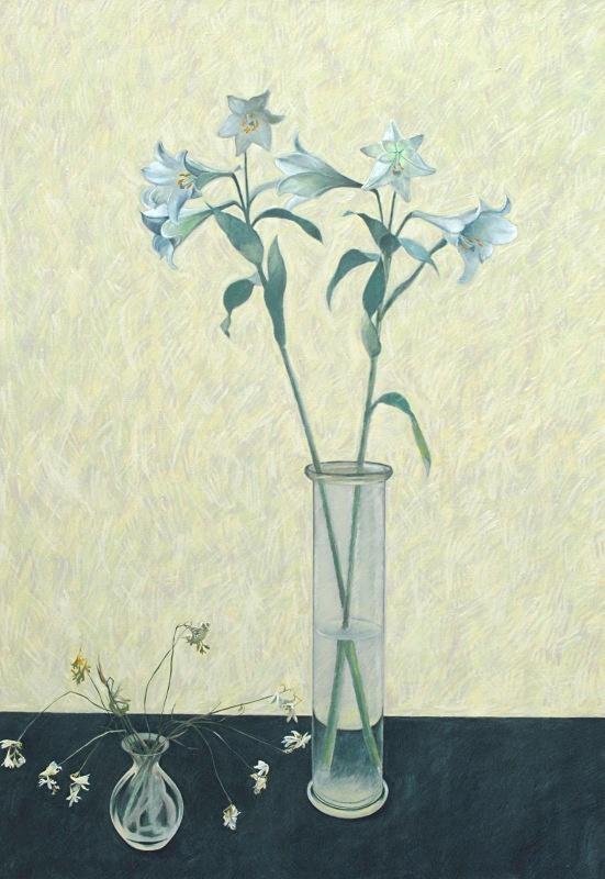 Dying Freesias Oil 42in x 60in - Flower Paintings