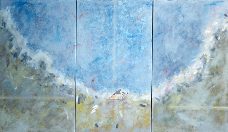 Triptych with Chaffinch  72in x 40in - Bird Paintings