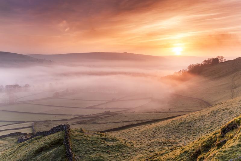 Sunrise over Castletons Peveril Castle. - Castles and Fortresses