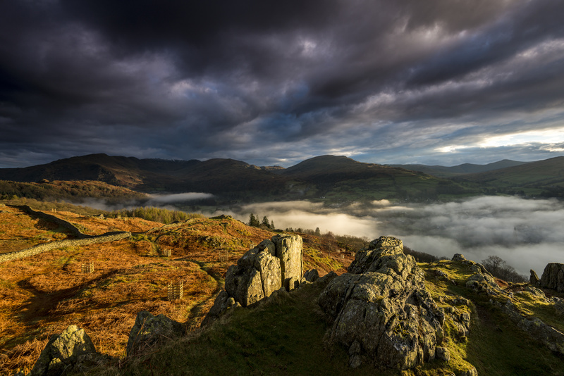 Loughrigg rocks sunrise. - Lake District & Cumbria