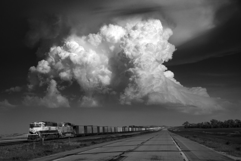 Convection over Freight train, Tornado alley, USA. - Storm photography