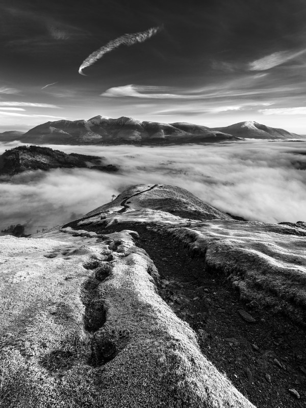 Frosty fells sunrise, Lake District - Black-and-white