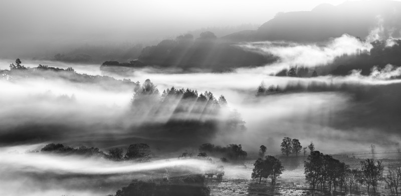 Little Langdale tarn, Lake District - Black-and-white
