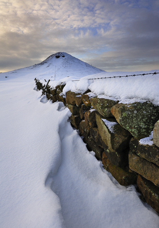 Roseberry Topping - Winter, along the wall. - Roseberry Topping